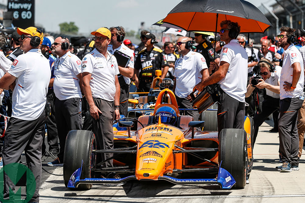 Fernando Alonso in the McLaren entry at the 2019 Indianapolis 500
