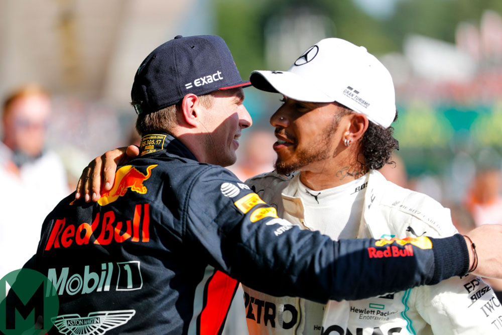 Max Verstappen congratulates Lewis Hamilton after the 2019 Hungarian Grand Prix