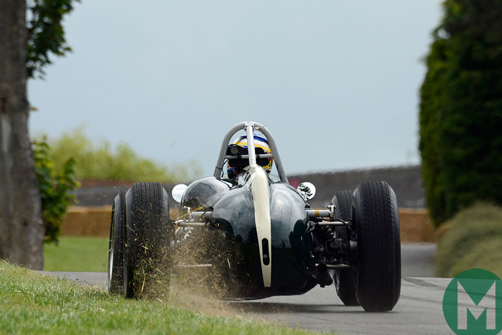 William Nuthall kicks up some grass in the Cooper T53 at Chateau Impney