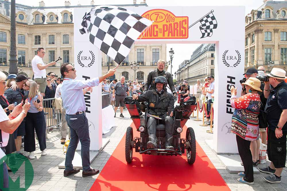 2019 Peking to Paris rally finish - Competitors make the end of the 8500-mile Peking to Paris test