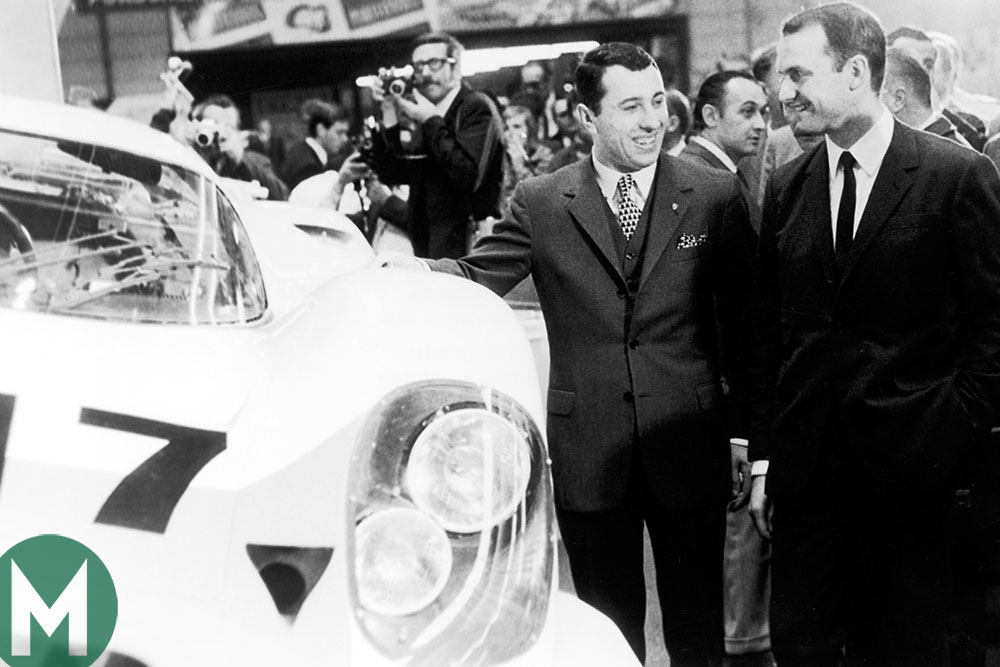 Ferdinand Piech at the 1969 Geneva Motor Show next to the newly-unveiled Porsche 917