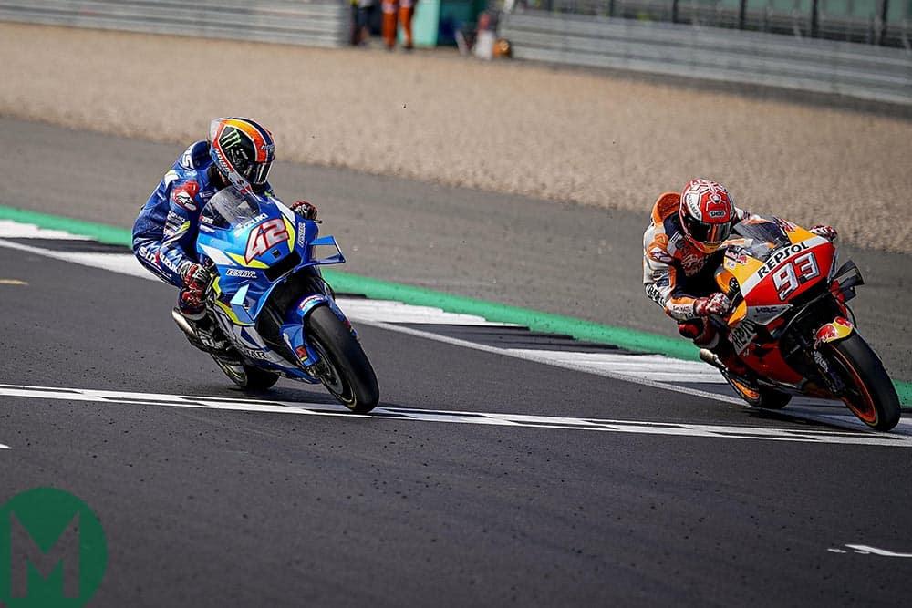 Alex Rins beats Marc Marquez in a photo finish at the 2019 MotoGO British Grand Prix