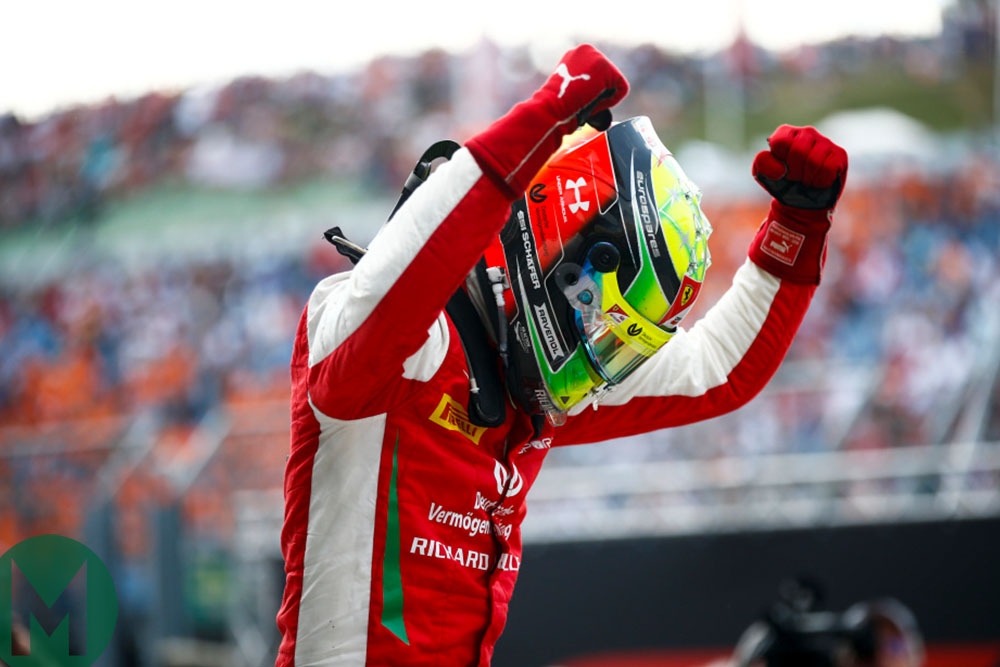Mick Schumacher celebrates his first Formula 2 victory, winning the Hungarian Grand Prix Sprint Race