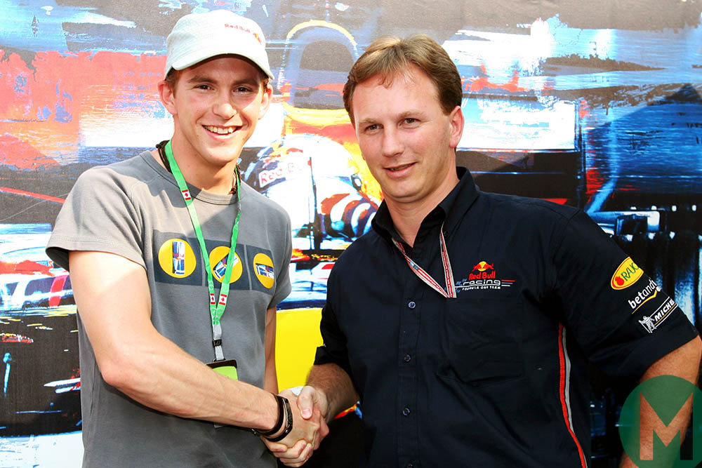 Scott Speed and Christian Horner at the 2005 Canadian Grand Prix