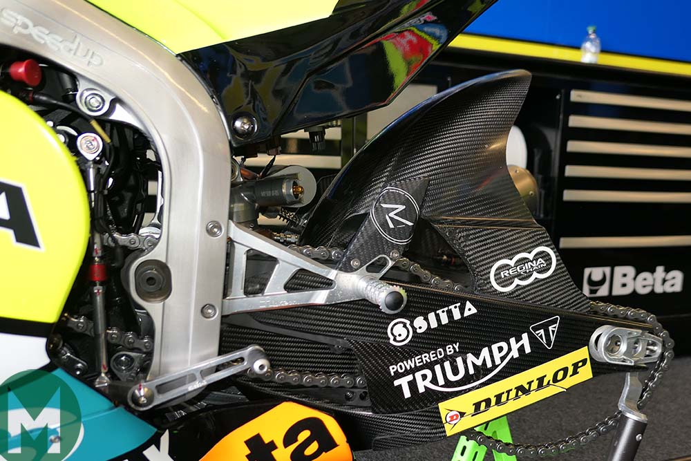 The Speed Up's carbon-fibre swingarm