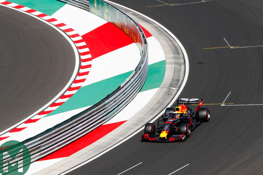 Max Verstappen in the final corner of the Hungaroring during qualifying for the 2019 Hungarian Grand Prix
