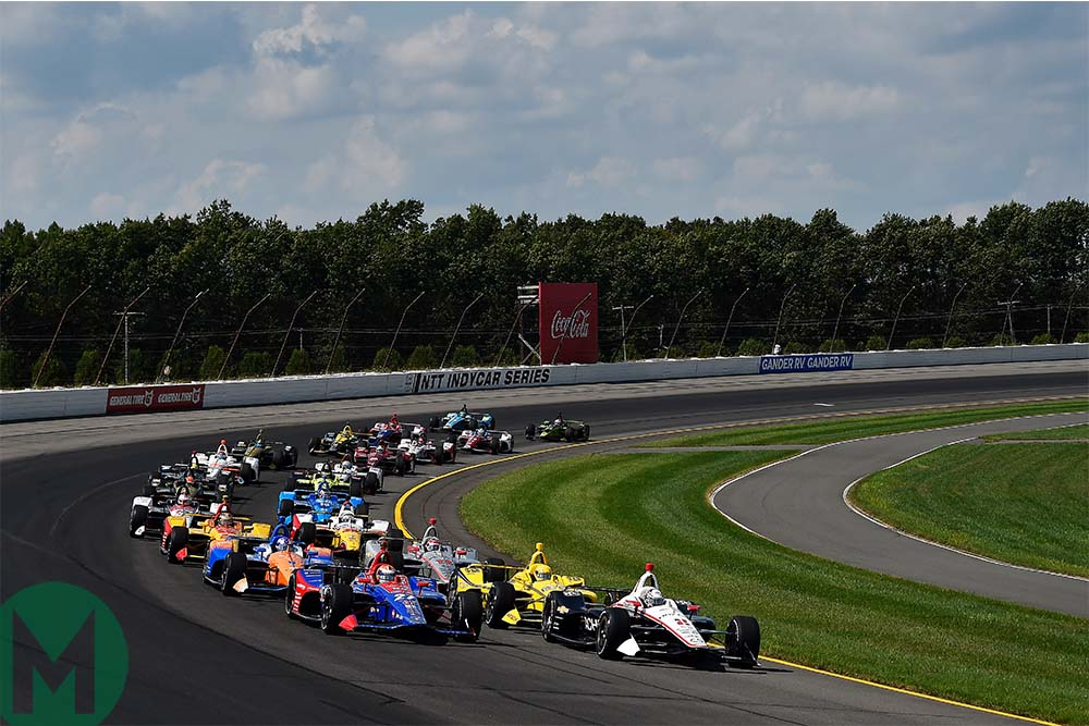 The IndyCar field comes to the green flag to start the ABC Supply 500 at Pocono