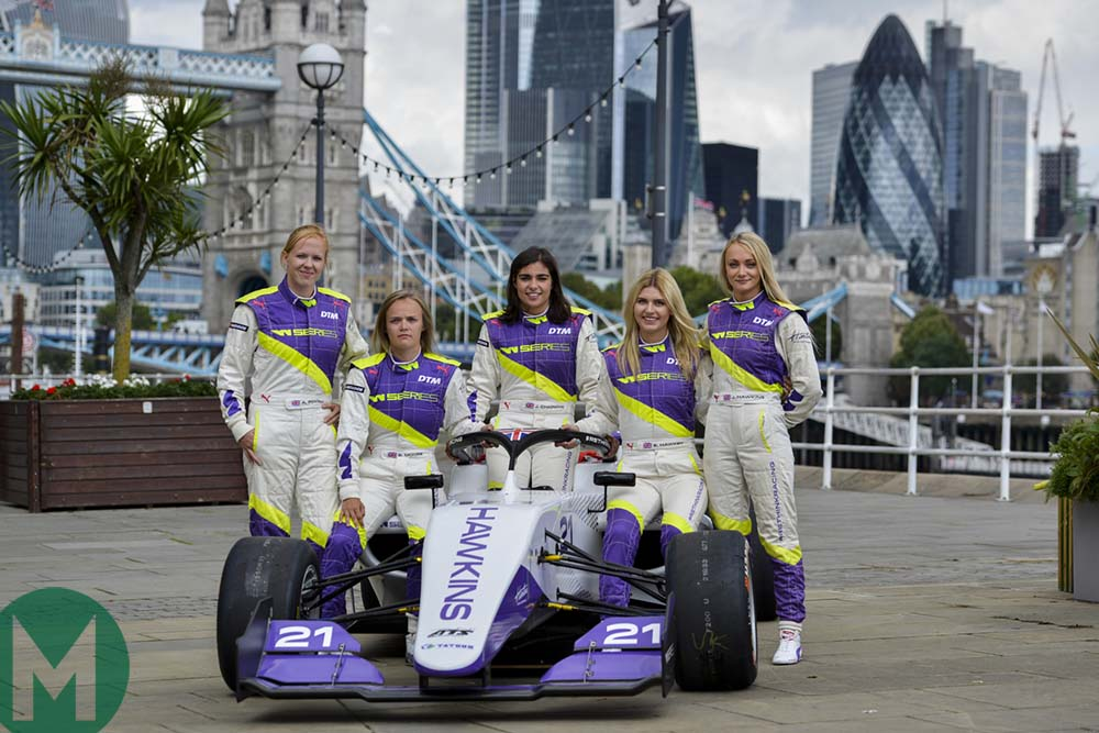 Alice Powell, Sarah Moore, Jamie Chadwick, Esmee Hawkey and Jess Hawkins ahead of the W Series finale at Brands Hatch