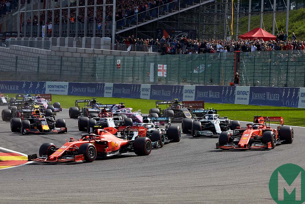 Cars negotiate the La Source hairpin at the start of the 2019 F1 Belgian Grand Prix