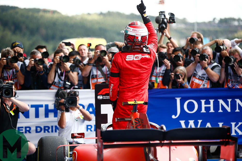 Charles Leclerc points to the sky in memory of Anthoine Hubert after winning the 2019 Belgian Grand Prix a day after Hubert's death