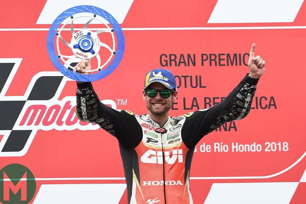 Cal Crutchlow celebrates his most recent MotoGP win at Argentina in 2018