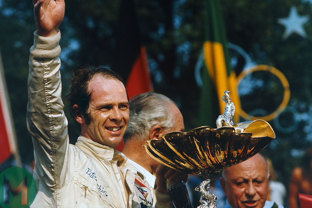 Peter Gethin with the winners' trophy at the 1971 Italian Grand Prix