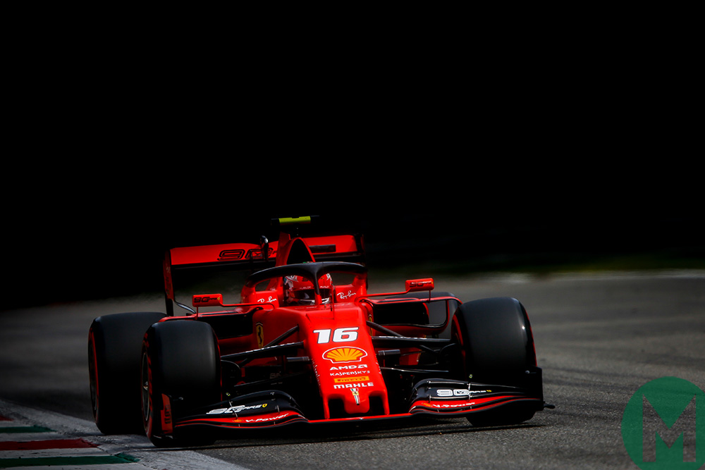 Charles Leclerc's Ferrari on track at Monza during qualifying for the 2019 Italian Grand Prix