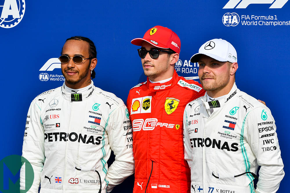 Charles Leclerc, Lewis Hamilton and Valtteri Bottas at the official photoshoot for the top three drivers after qualifying for the 2019 Italian Grand Prix