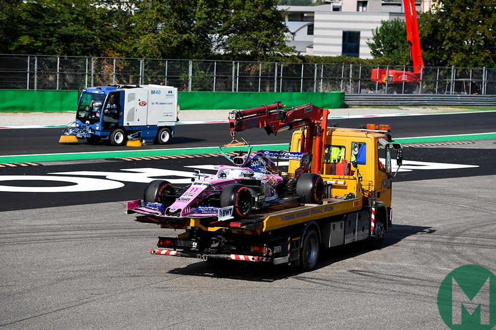 Sergio Perez's Racing Point F1 car on a low loader after losing power during qualifying for the 2019 Italian Grand Prix