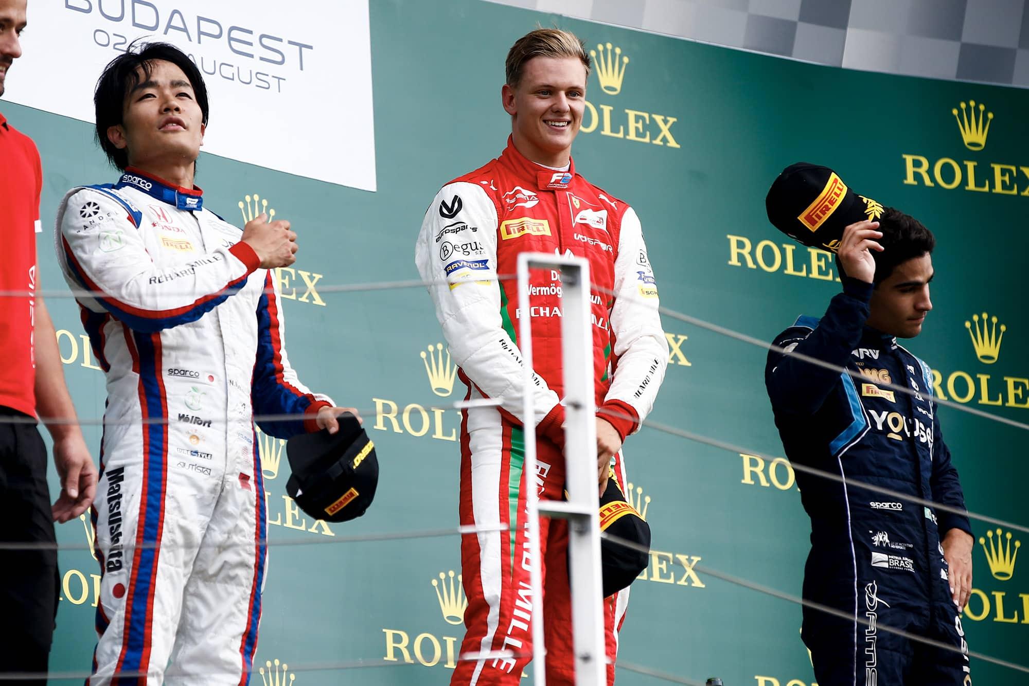 Mick Schumacher celebrates victory at the Hungaroring in the 2019 Formula 2 season