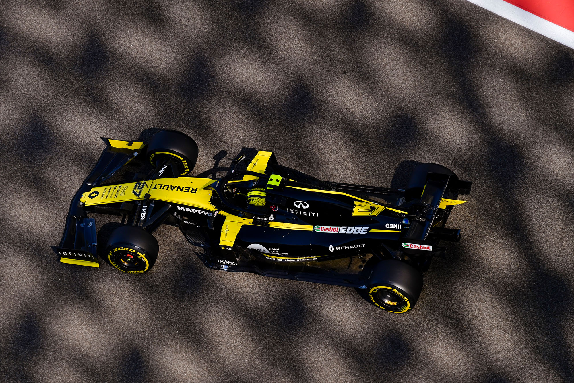 Overhead shot of the Renault RS 19 at the 2019 f1 Abu Dhabi Grand Prix