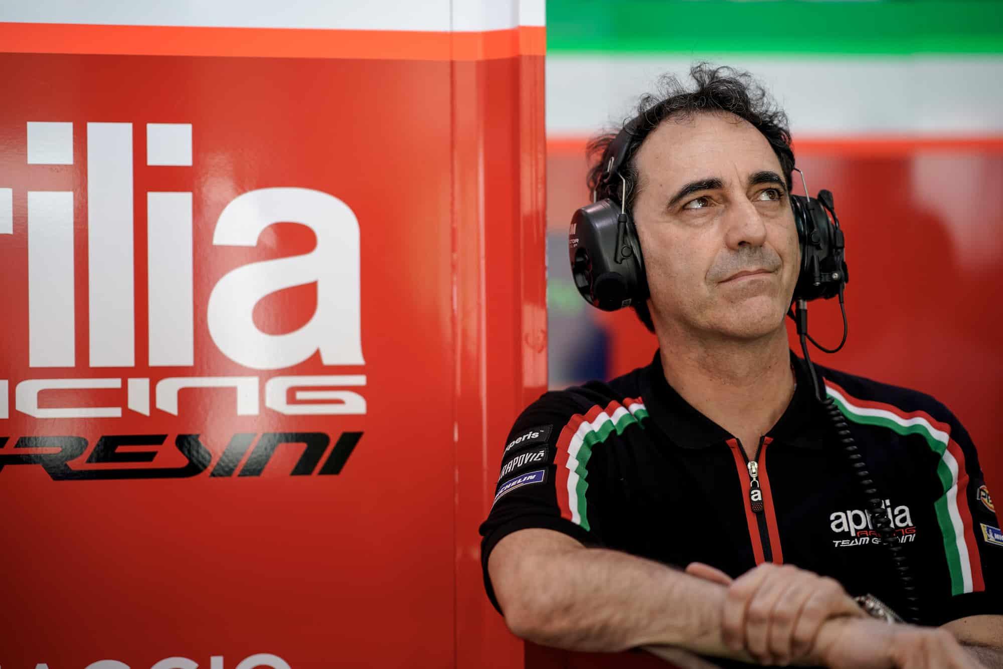 Romano Albesiano in the Aprilia MotoGP pit garage
